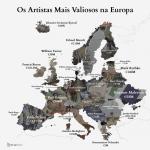 Este mapa mostra os artistas mais caros da Europa