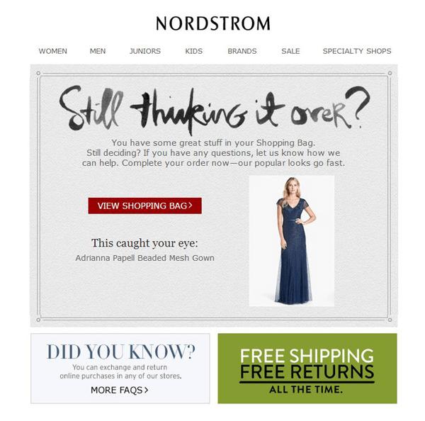 Panier du taux de conversion du commerce électronique nordstrom