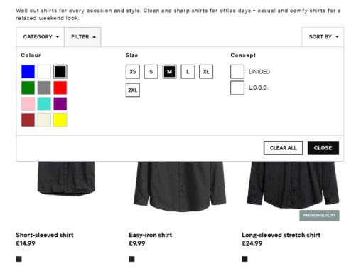 filters on top ecommerce sites