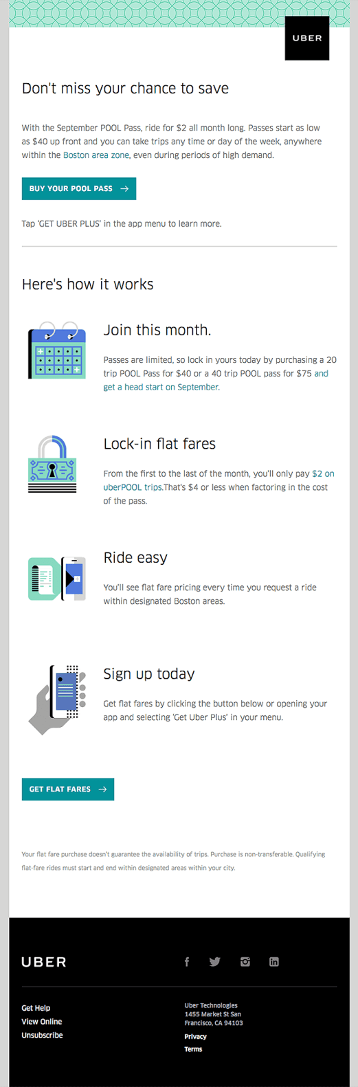 Uber promotional email campaigns