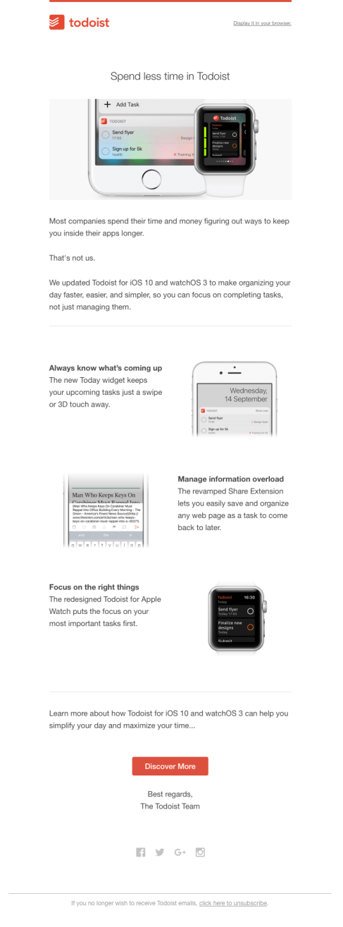 Todoist-product-update email