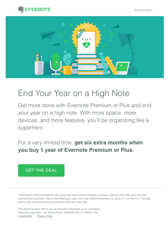 evernote email promotion