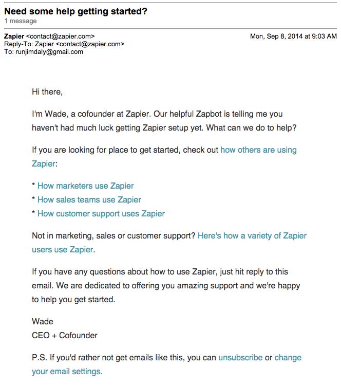 zapier feedback email