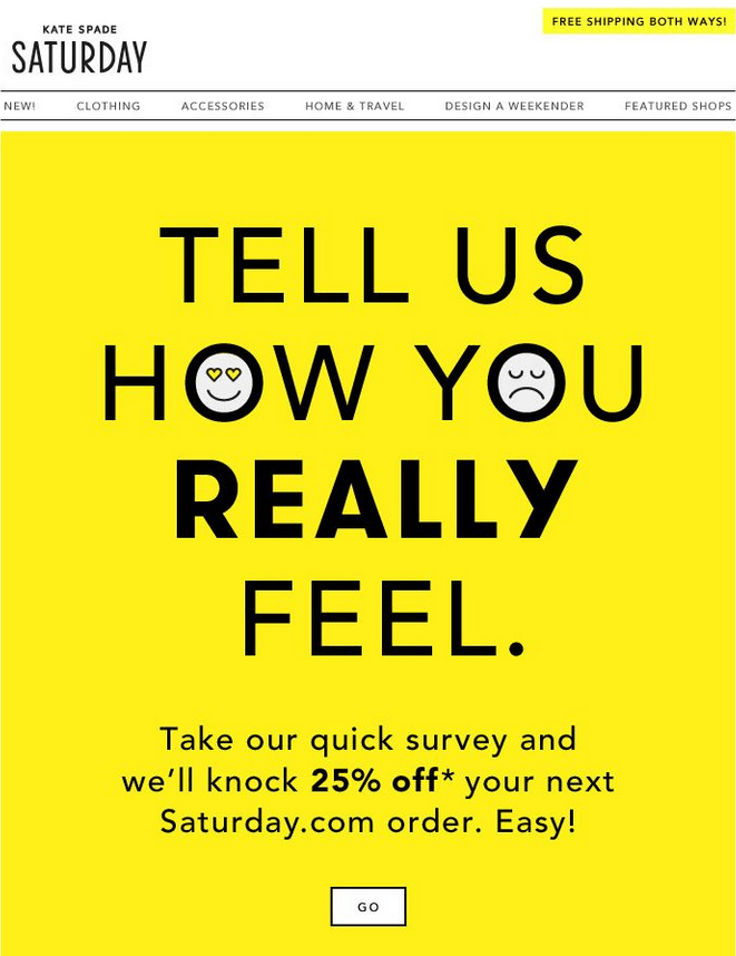 kate spade survey email