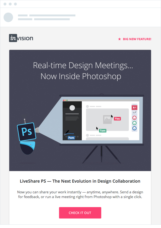 invision announcement email
