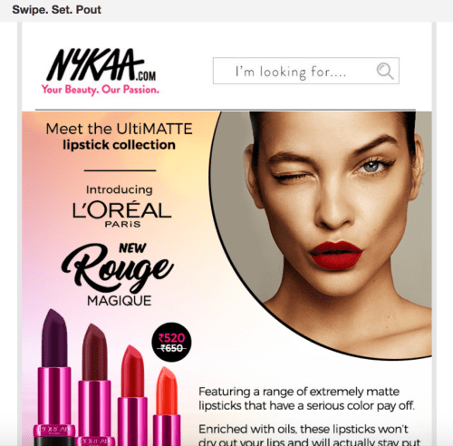 Advanced email marketing and deep segmentation by Nykaa