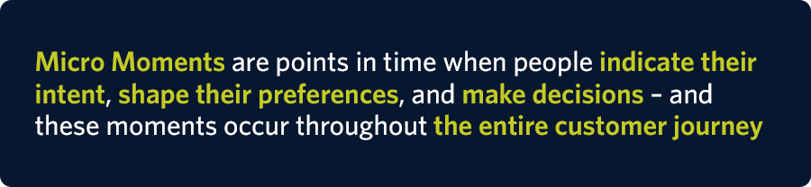 Micro Moments are points in time when people indicate their intent, shape their preferences, and make decisions – and these moments occur throughout the entire customer journey