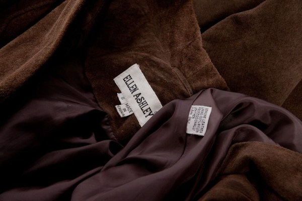 Women's ELLEN ASHLEY Genuine Leather Suede Brown Swing Coat Small Lined Preowned