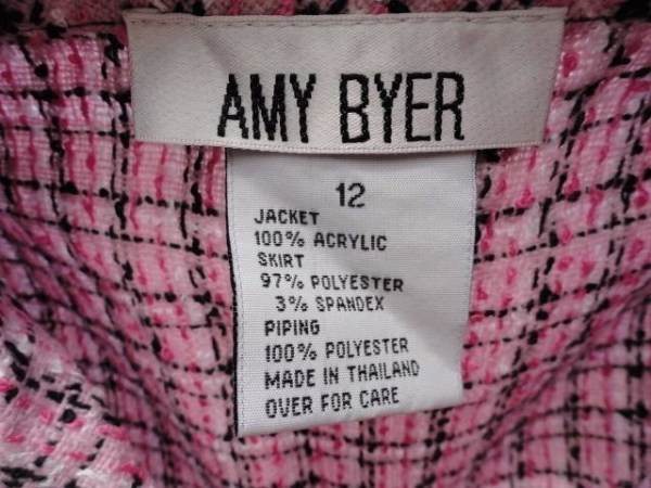 Girl's Amy Byer 2 Piece Suit Outfit Pink Black Jacket 12 Black Skirt 10 NWT
