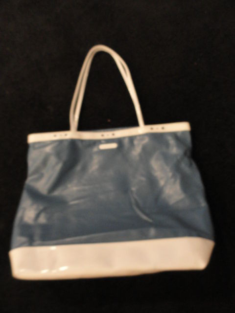 Vintage Super Sac Blue & White Tote Bag Hand Bag Snap Clousure Great Cond Used