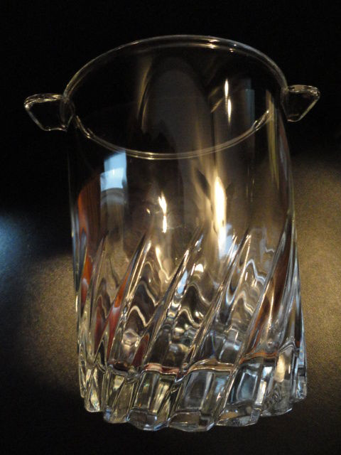 Vintage Mini Petite Crystal Cutting Ice Bucket With Handles Made In France Mint