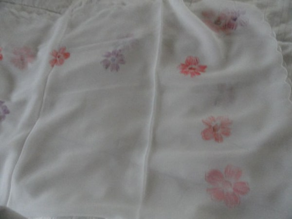 """Vintage White Hand Painted Pink & Red Flowers Scarf Wrap by """"NONA"""" Made in Japan"""