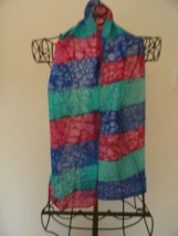 Vintage Blue Turquiose Red Handmade Tie Dyed Silk Scarf Abstract Pattern 29x10