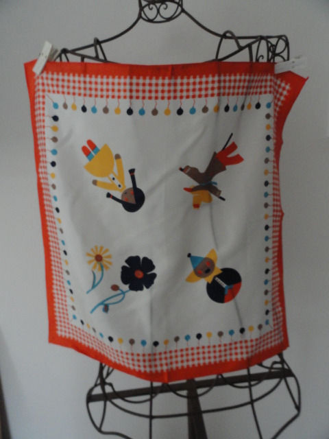 Vintage Children's Balloons, Doll, Flower Pattern Scarf Orange Multicolored