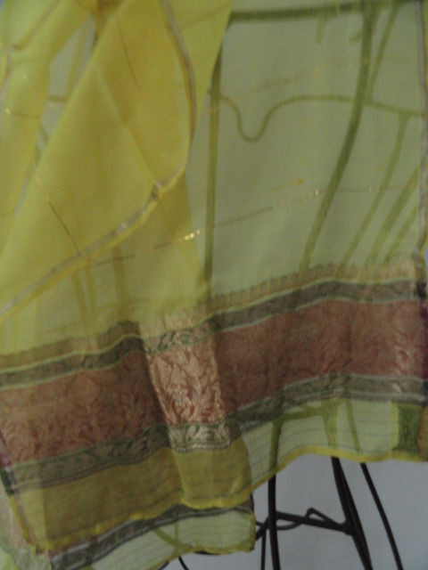 Vintage Yellow & Gold 100% Pure Silk Scarf Gold Thread Floral Pattern Handwoven
