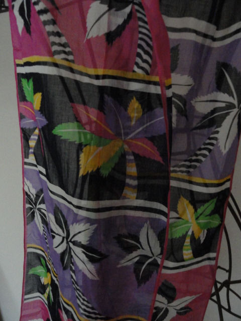 Vintage Palm Trees Pattern Scarf Multicolored Made in Japan 100% Cotton 68x10
