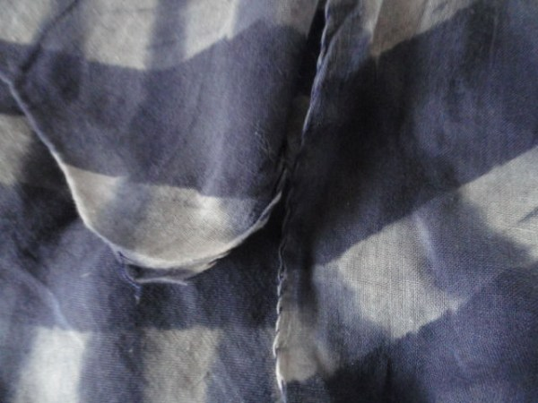 Vintage Blue & White Striped Hand Painted Handmade Scarf by KARAVAN 100% Cotton