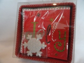 Christmas White Stoneware Snowflake Jolly Napkin Holder NIB Hostess Gift