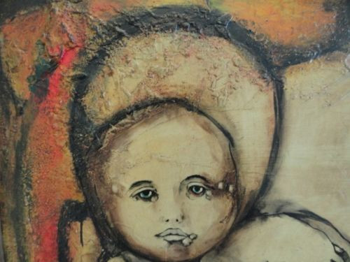 Original Ramirez '68 Signed Mother & Child Oil Painting Mexico Paperwork Framed