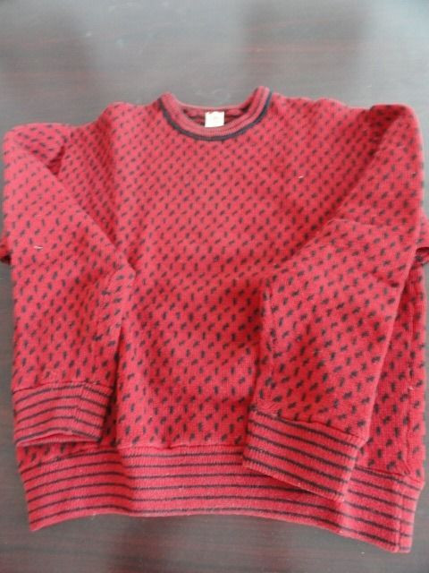 Vtg Men's Designer Sweater ROLAND Made In Norway 100% Wool Red Black Large