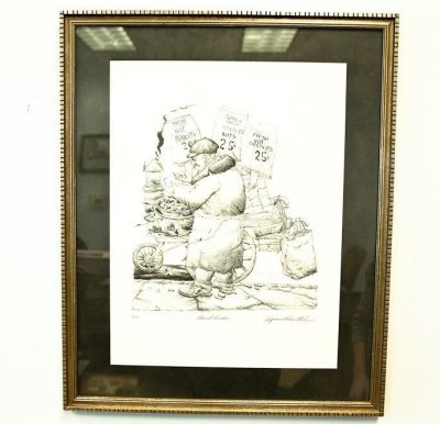 "NYC Artist Seymour Rosenthal Lithograph ""The Peanut Vender"" 84/200 Signed"