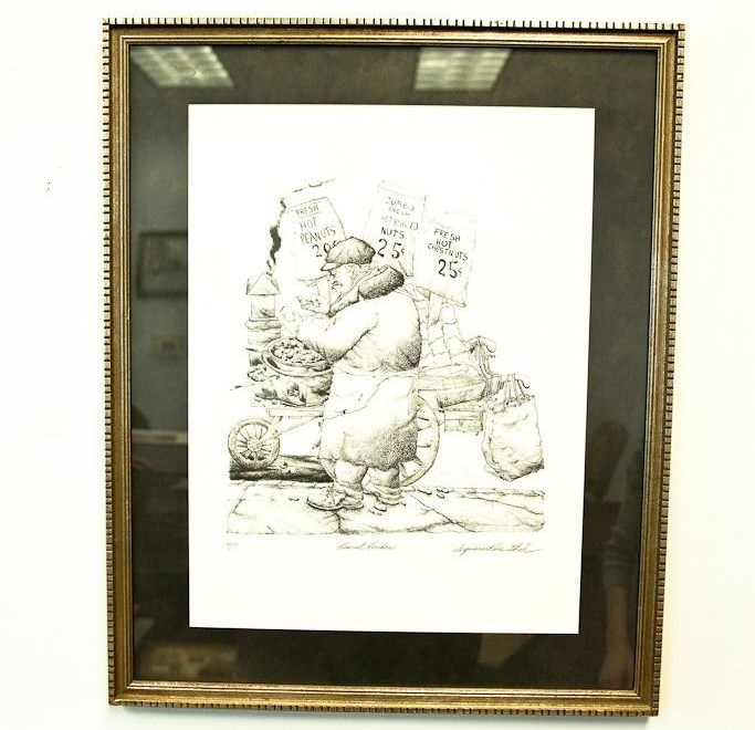 """NYC Artist Seymour Rosenthal Lithograph """"The Peanut Vender"""" 84/200 Signed"""