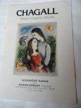 Art Book Catalog Chagall Brochure 1979 Kahan/Esikoff Fine Arts 15 Pages
