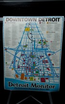 VTG 1980 EDITION DEROIT MONITOR DOWNTOWN DETROIT MAP Designer Horst Mann