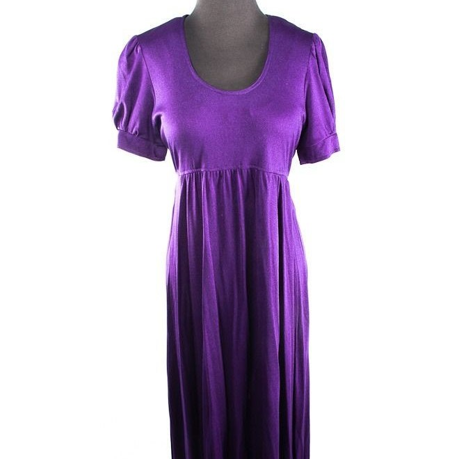 Vtg 70s Purple Saks Fifth Avenue Empire Waist Maxi Dress S 13 The Young Circle