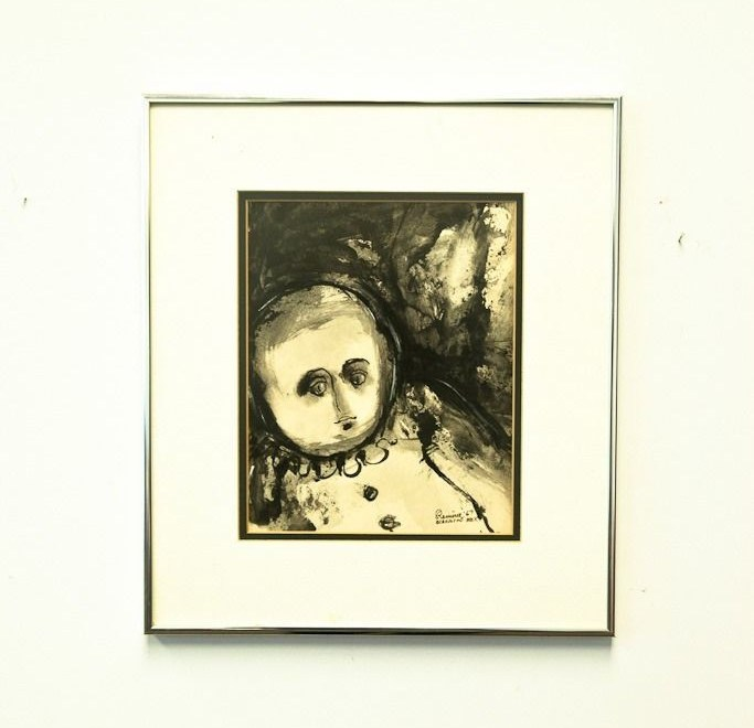 "Vtg '67 Abraham Ramirez Acapulco Mexico Indian Ink Painting ""Clown"" Signed"