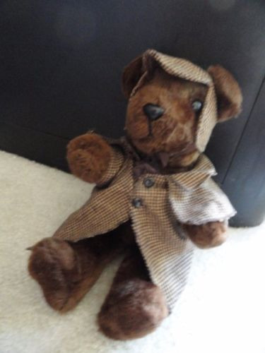 Vintage Sherlock Holmes Teddy Bear TRUDY Norwich CT Sewn In Haiti Plush Toy NWOT