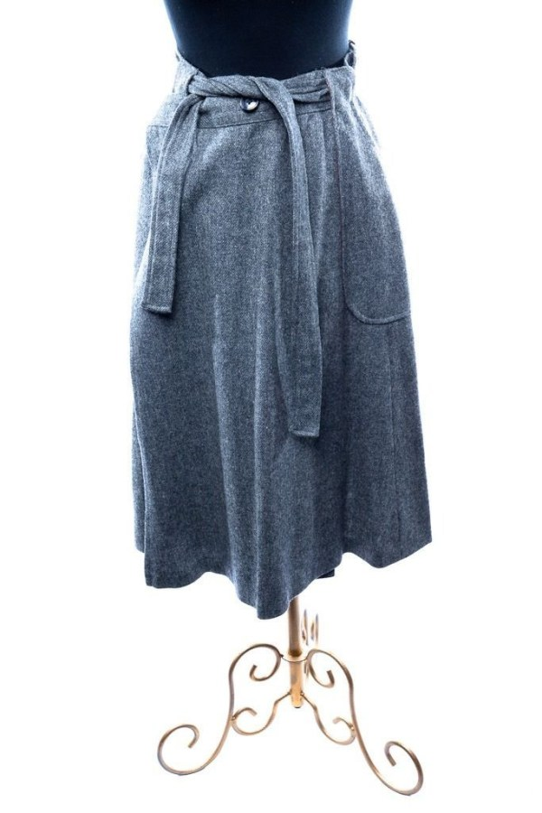 Vtg Saks Fifth Avenue Gray Wool Wrap Around Skirt Young Dimensions 14 Boston