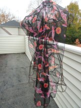 Vintage 1970's Scarf Wrap Black Multi Colored Hand Rolled Edges Sheer