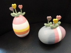 Two Vintage Hand Painted Hand Carved Easter Wood Eggs With Heart Shaped Flowers