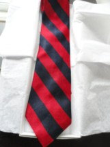 Vintage Men's ROBERT STOCK Navy Red Striped Tie 100% Silk Made In USA NWOT