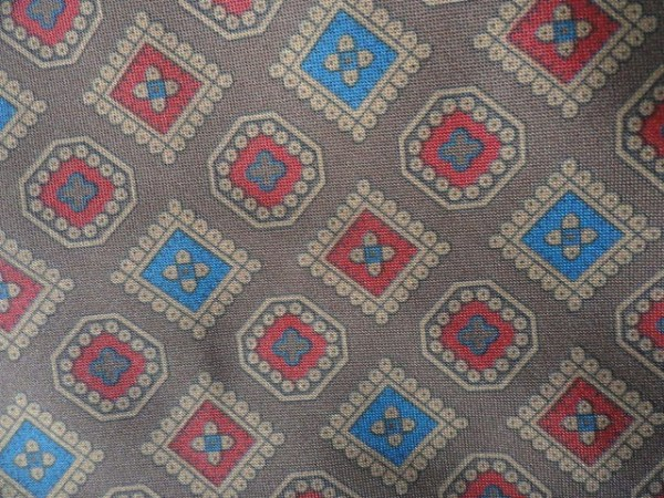 Vintage Men's ALDOFO ROSSINI HAND MADE SILK Tie Brown Red Blue Squares Unkown