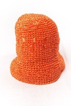 Vintage 1960's  Women's Orange Raphia Straw Hat No Tag Preowned Excellent Cond
