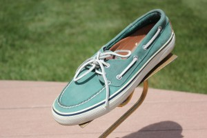 Men's SPERRY TOP SIDER Bahama Salt Washed 2 Eye Green Leather Size 8 Pre-Owned