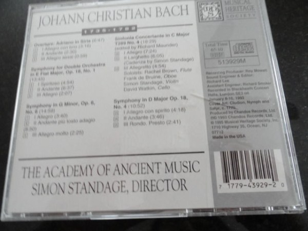 Vtg Musical Heritage Society Classical J.C. Bach Overture: Adriano in Siria CD
