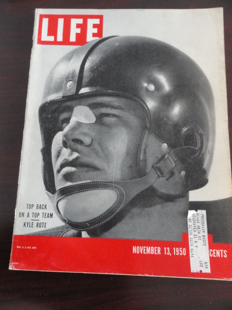 Vintage Life Magazine November 13, 1950 On A Top Team Kyle Rote  On Cover