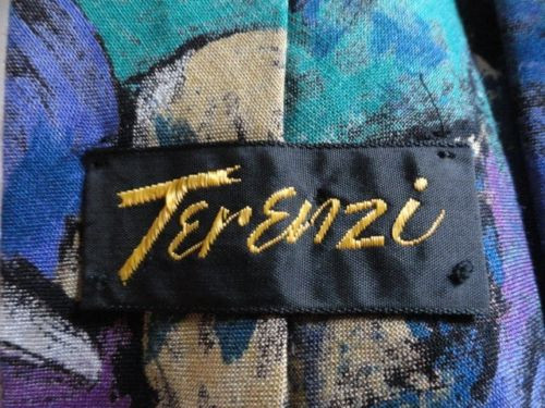 Vintage Men'sTerenzi Floral Tie 100% Rayon Imported Fabric Made In USA NWOT