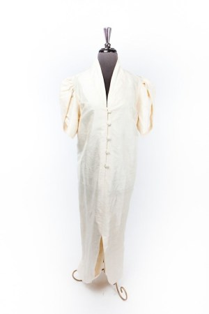 Tulip 1980's Women's Formal Mother Of The Bride Dress Raw Silk Handmade Ivory