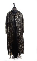Vtg '67 Mohan Women's Custom Hand Made Black Gold Brocade Coat & Dress Hong Kong