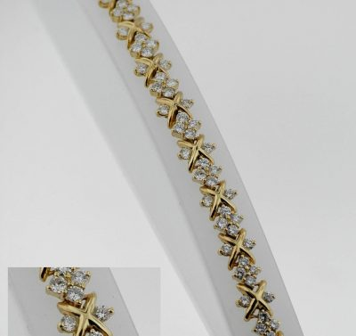 "Lady's Diamond ""X"" Design Bracelet 18 Karat Yellow Gold Hand Made  7"" Preowned"