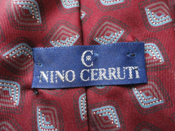 Vintage Men's NINO CERRUTI Tie Diamond Pattern Imported Fabric 100% Silk