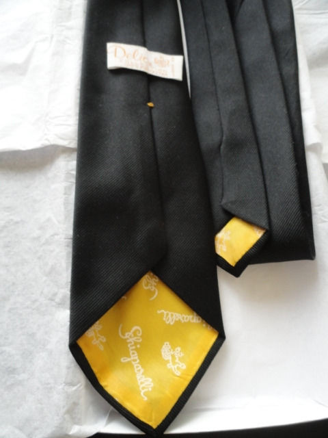 Vintage Men's Delio Collection Black Tie Schiaparelli Logo Design 100% Polyester