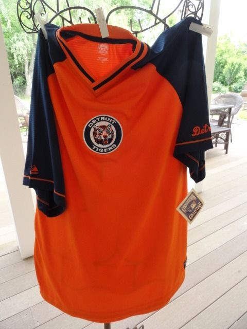 Detroit Tigers MLB COOPERSTOWN COLLECTION Majestic Short Sleeve Shirt NWT XL