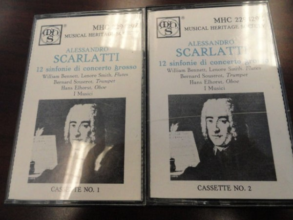 Alessandro Scarlatti Two Cassettes 1 & 2  Musical Heritage Society