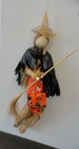 Vtg Straw Witch Dressed Halloween  Hanging Witch Hat Broom Bag One Of A Kind 45""