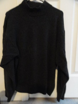 Men's Bachrach Sweater Made In Hong Kong XL 54 Grey Black Solid Preowned